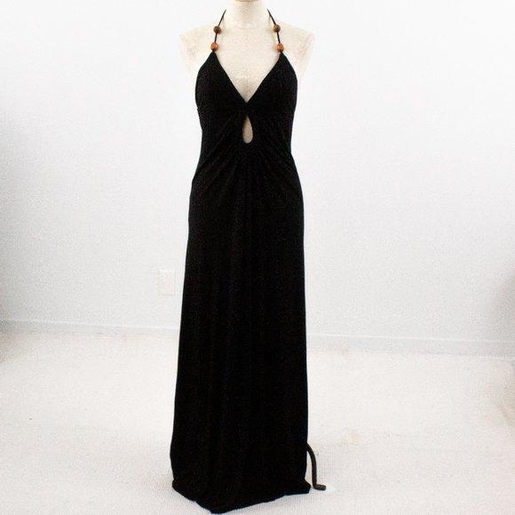 Revolve S Jersey Maxi Halter Cutout Dress Black